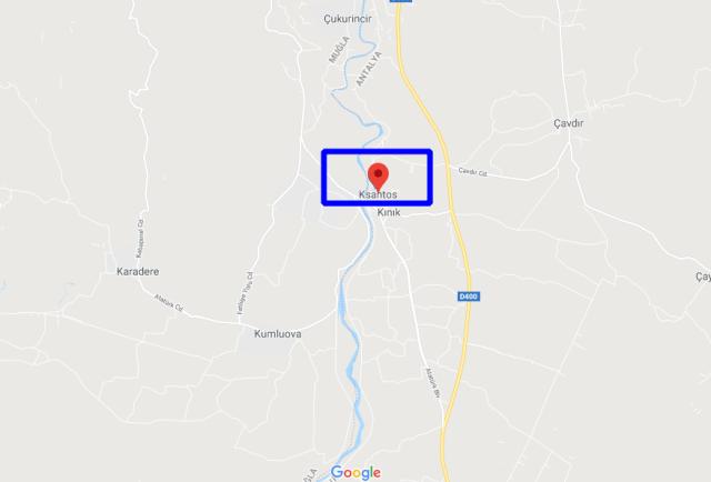 Xanthos antik kenti haritası