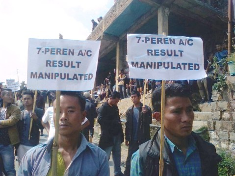 Protest against irregularities in conduct of polls