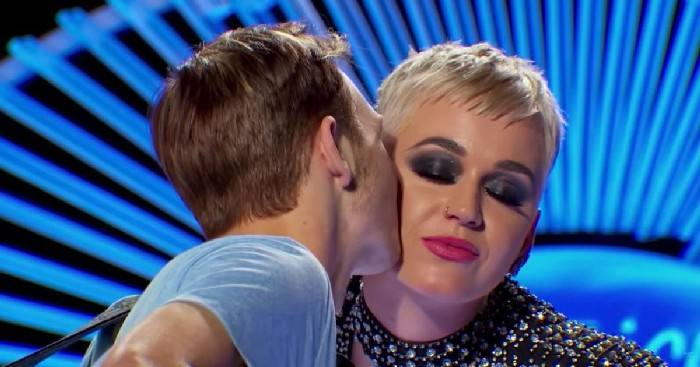 Katy Perry kisses American Idol contestant without consent