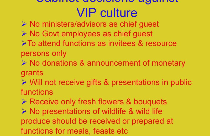Govt moves to remove VIP culture; Says no chief guests, donations in public functions