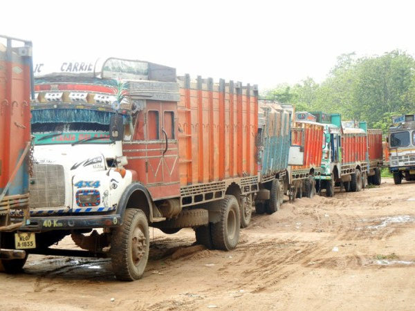 Sand laden trucks refuse to enter Nagaland