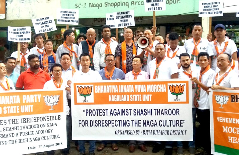 Naga headgear controversy: State BJP  burns Tharoor's effigy