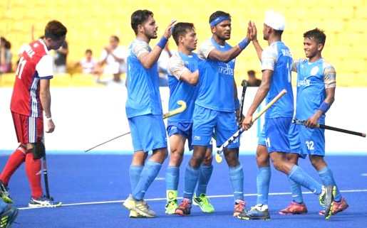 504f54acd62 Indian players celebrate after a goal during the men s hockey pool A match  between India and Hong Kong at the 2018 Asian Games in Jakarta on August  22