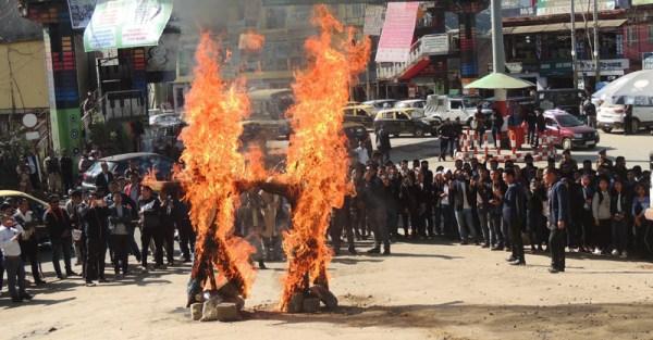 NSF burns effigies protesting  Citizenship Bill & illegal Immigrants