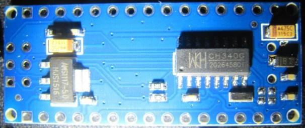 Clone chinois d'un Arduino Nano V3, et son CH340G.