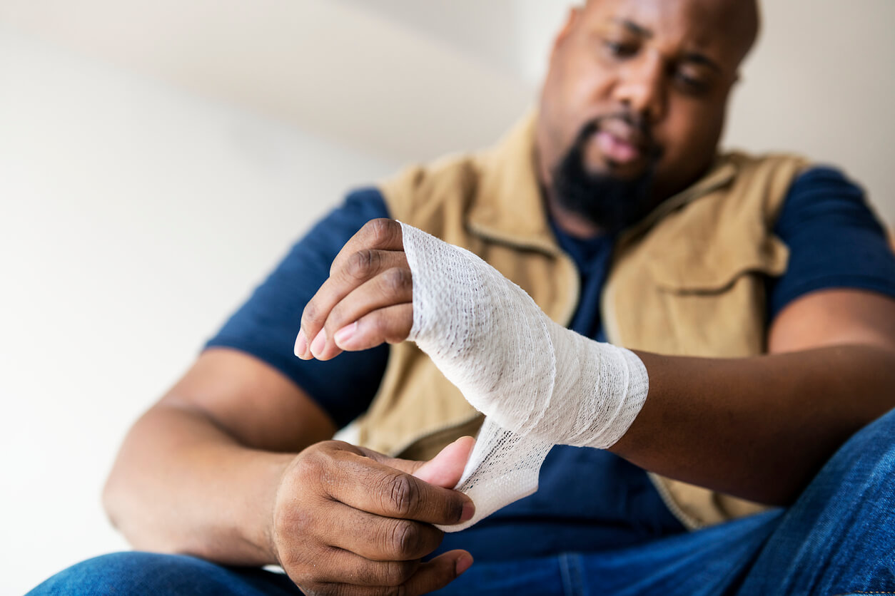 man with personal injury