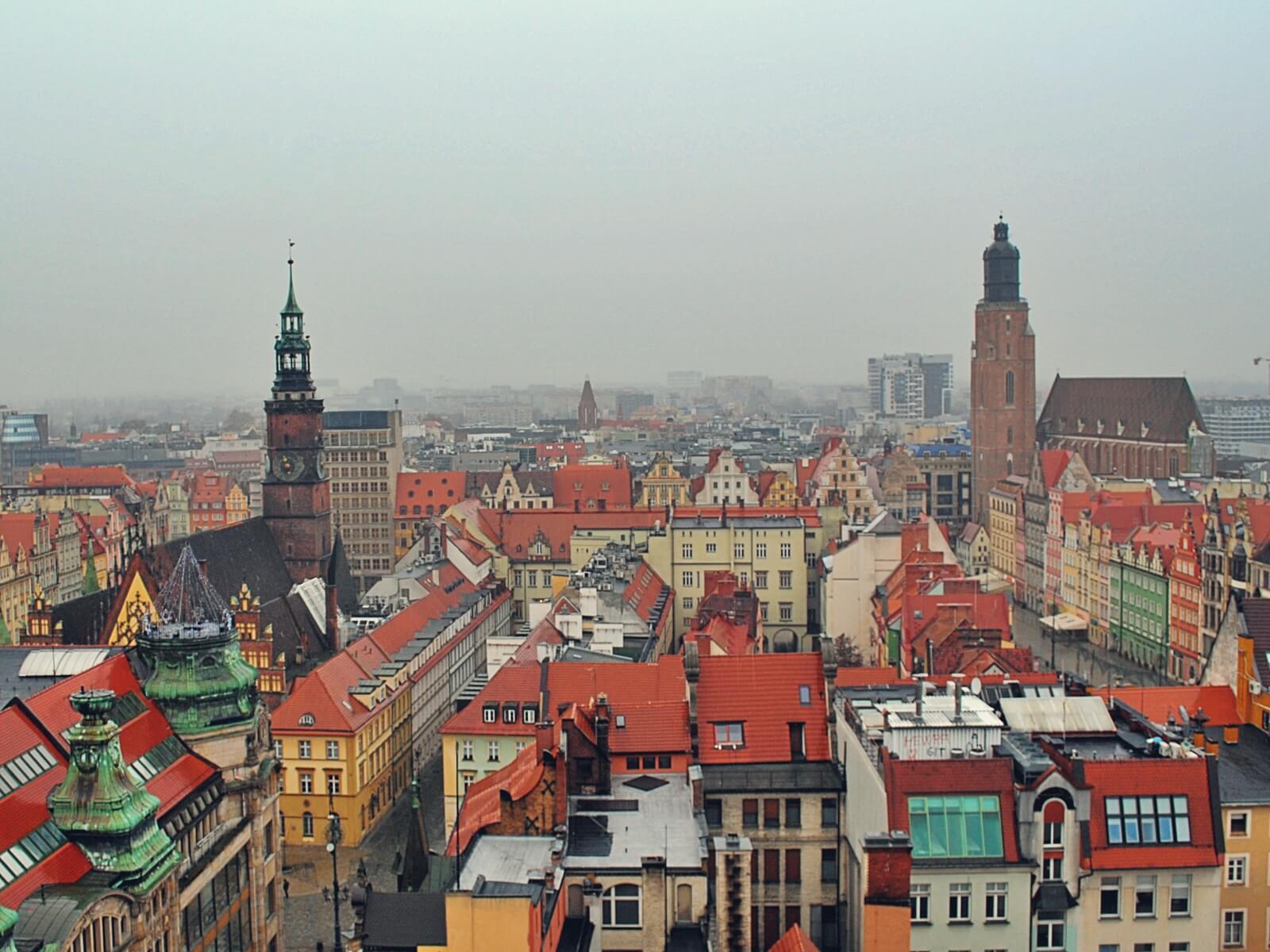 widok na Wrocław z mostu pokutnic.