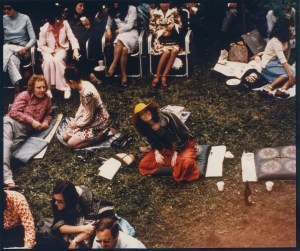 """Audience at Harold Pinter's """"The Birthday Party,"""" directed by Frank Hoyle, May, 1975."""