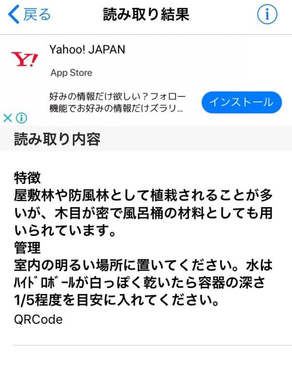 「無印良品 イヌマキ」QRコード読み取り情報