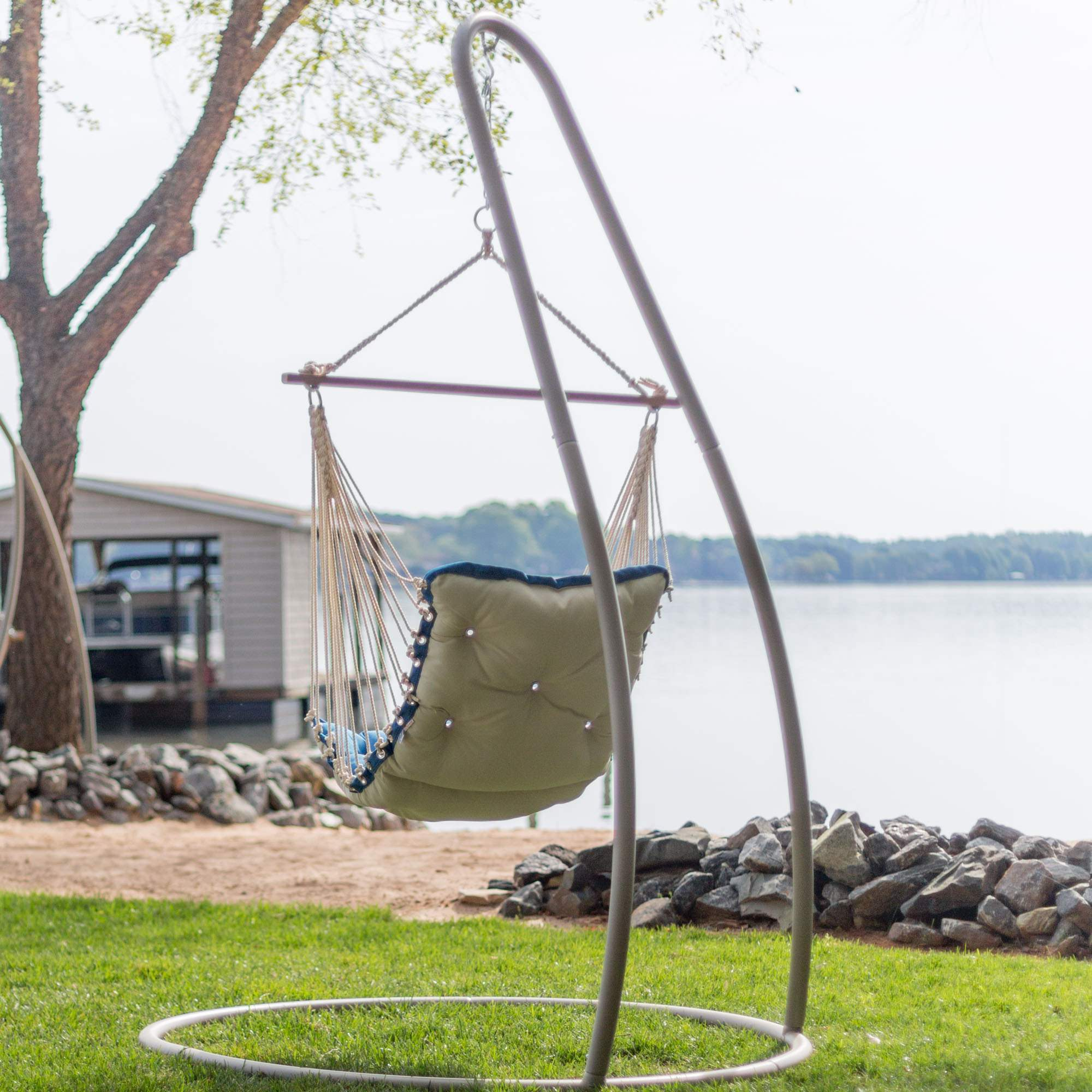 buy chair swing stand sling cushions taupe steel single on sale swsc1t