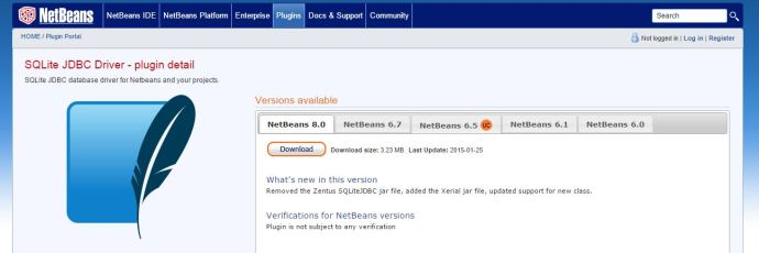 NetBeans SQlite JDBC driver plugin