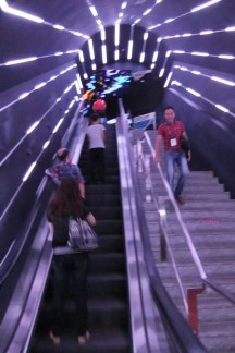 On the way to the Flyer, taking the escalator