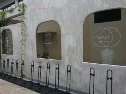 Side of Cafe with Bicycle stands