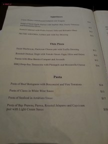 Food Menu for Appetizers, Pizza and Pasta
