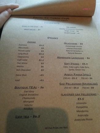 Drinks and Desserts Menu