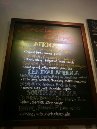 Specialty Coffee Menu