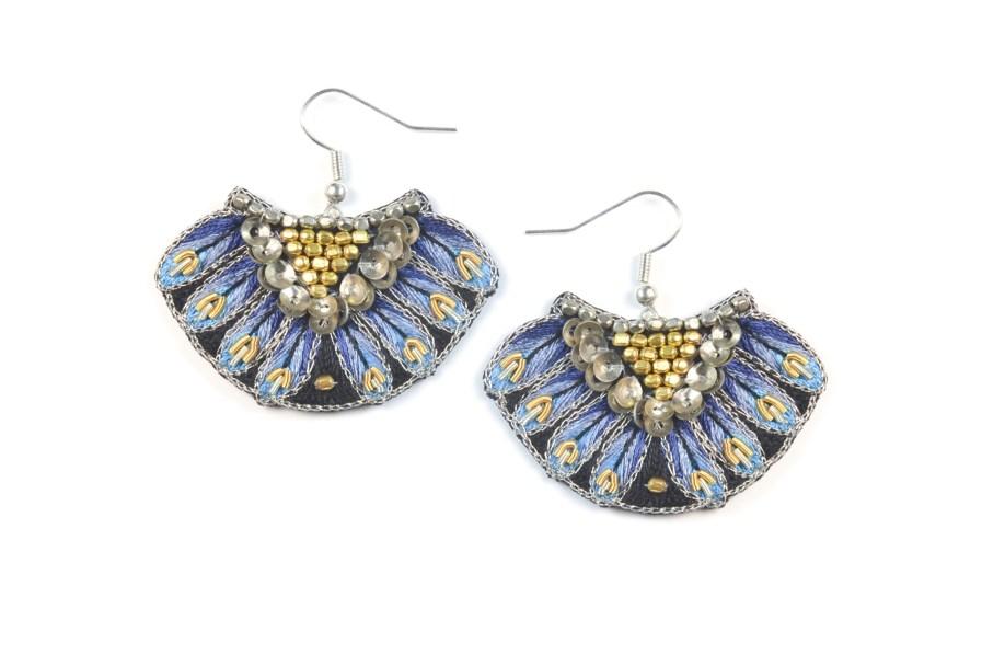 Boucles d'oreilles ethnique Nidhi | Blue | Photo 2