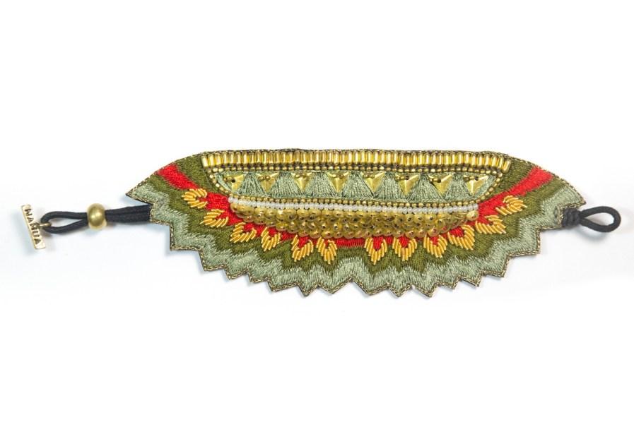 Bracelet ethinque Maheswari | Mousse/Corail | Photo 3
