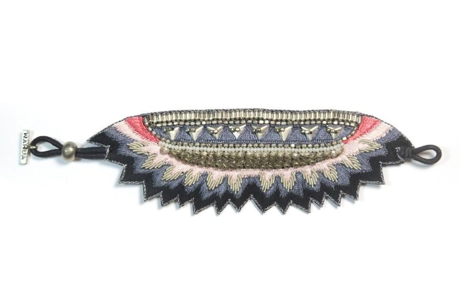 Bracelet ethnique Maheswari | Black/Coral | Photo 1