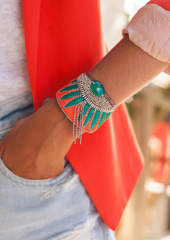 Bracelet ethnique Brahma | Coral/Celadon | Photo 1