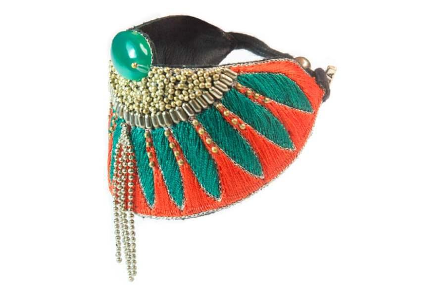 Bracelet ethnique Brahma | Coral/Celadon | Photo 2