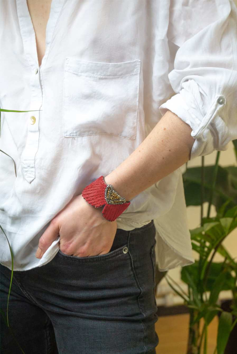 Bracelet cuir Angy | Corail | Photo 1