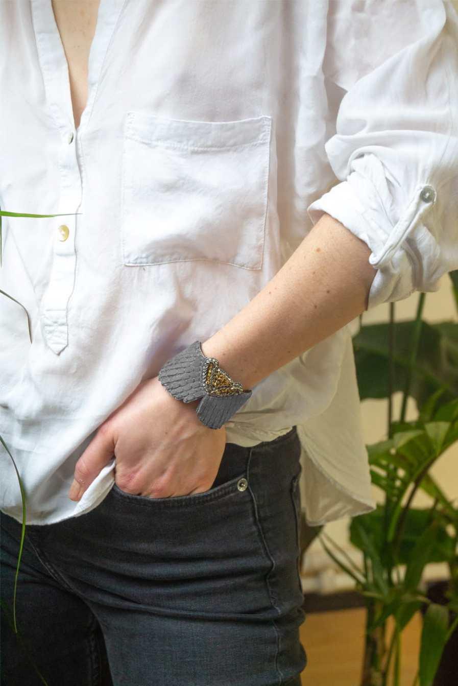 Bracelet cuir Angy | Grey | Photo 1
