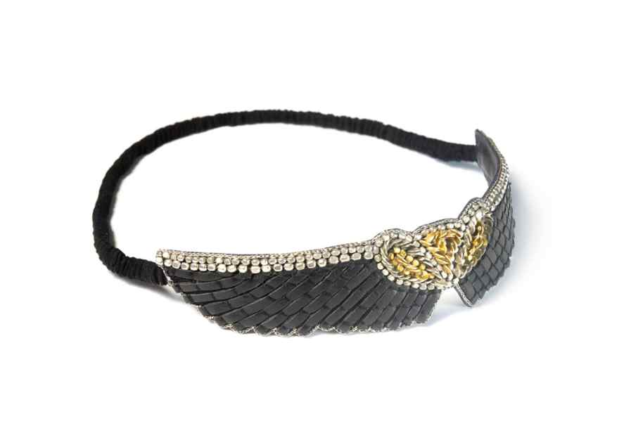 Headband brodé en cuir Anny | Black | Photo 1