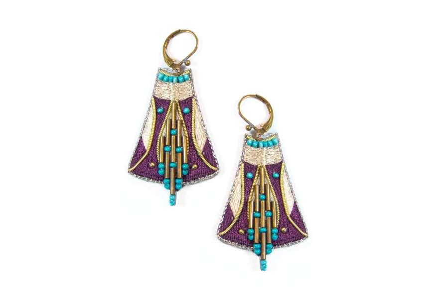 Boucles d'oreilles ethniques Apo | Purple/Mastic | Photo 2