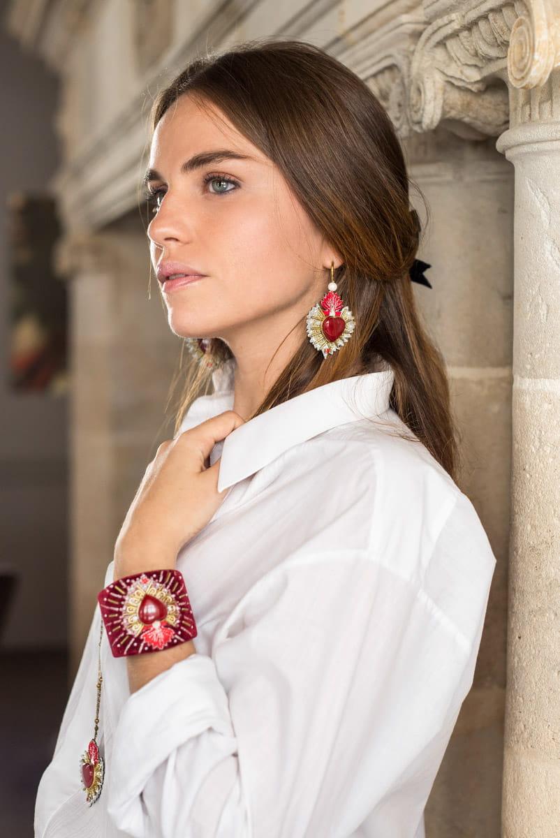Boucles d'oreilles sacré coeur Rosa | Rouge | Photo 3