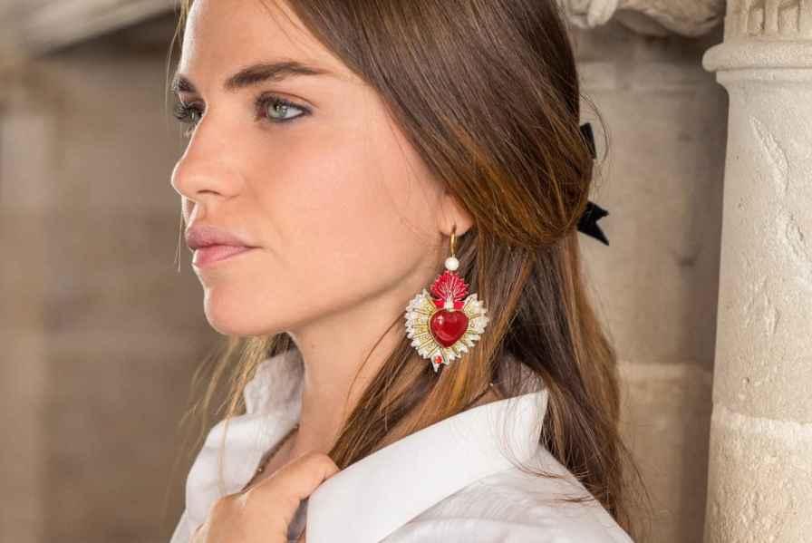 Boucles d'oreilles sacré coeur Rosa | Rouge | Photo 1