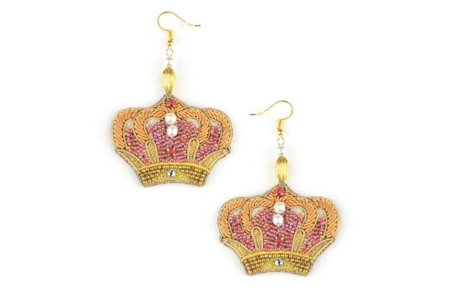 Boucles d'oreilles couronne Romy | Rouge | Photo 2