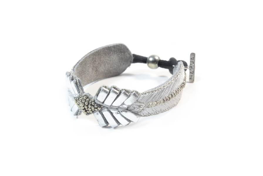Bracelet cuir Colombe | Silver | Photo 2