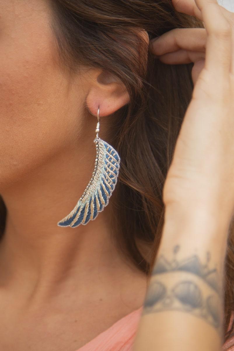 Boucles d'oreilles bohème Shampa | Duck/Cold blue | Photo 1