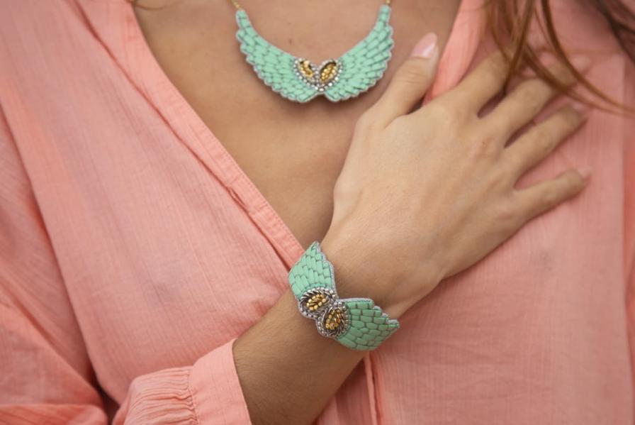 Bracelet cuir Ange | Turquoise | Photo 1