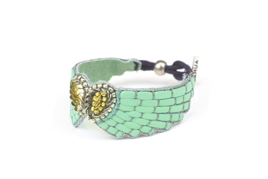 Bracelet cuir Ange | Turquoise | Photo 2