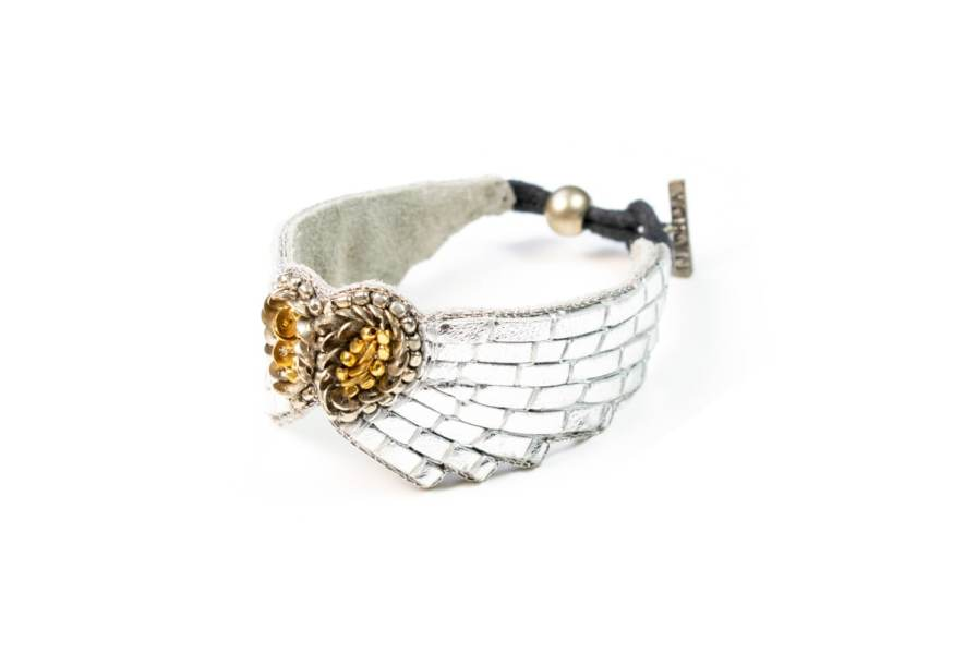 Bracelet cuir Ange | Silver | Photo 2