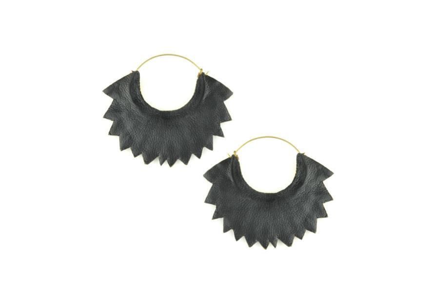 Boucles d'oreilles brodées Maria | Marine | Photo 3