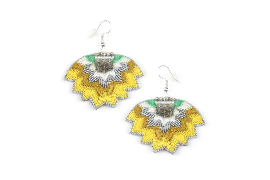 Madi embroidered earrings | Mustard | Photo 2