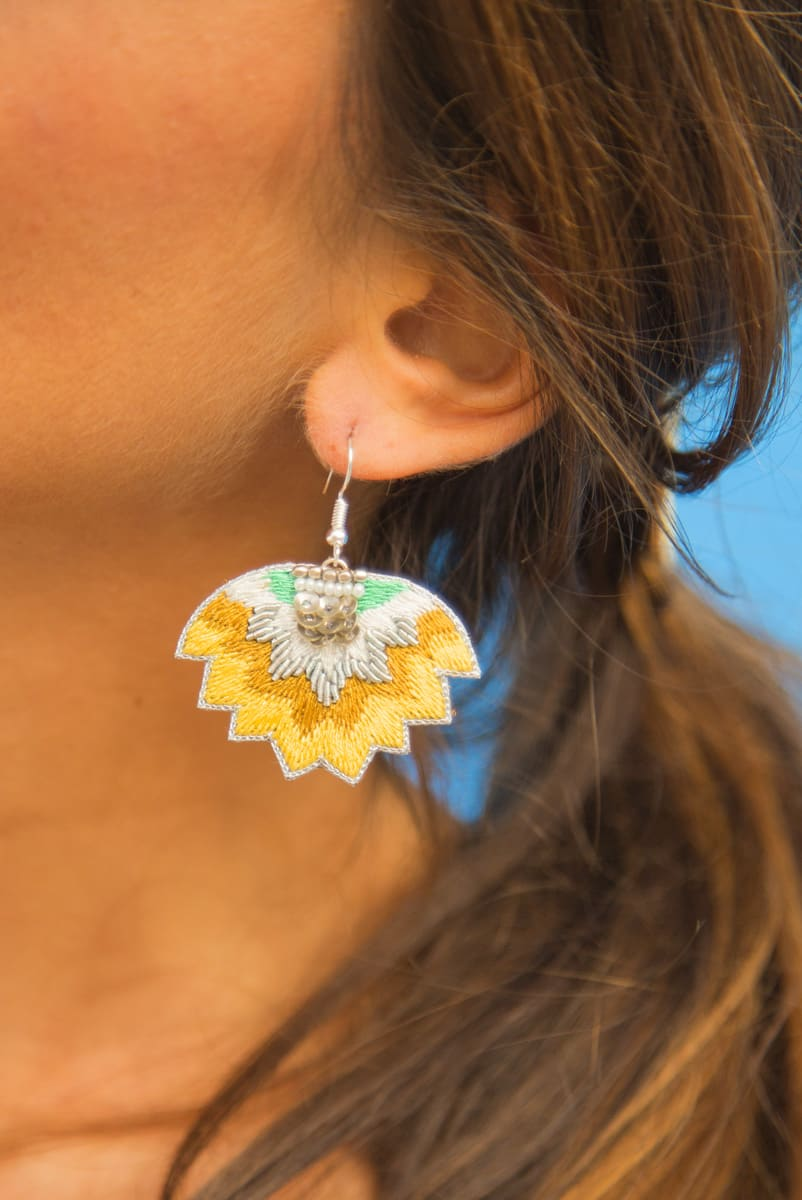 Madi embroidered earrings | Mustard | Photo 1