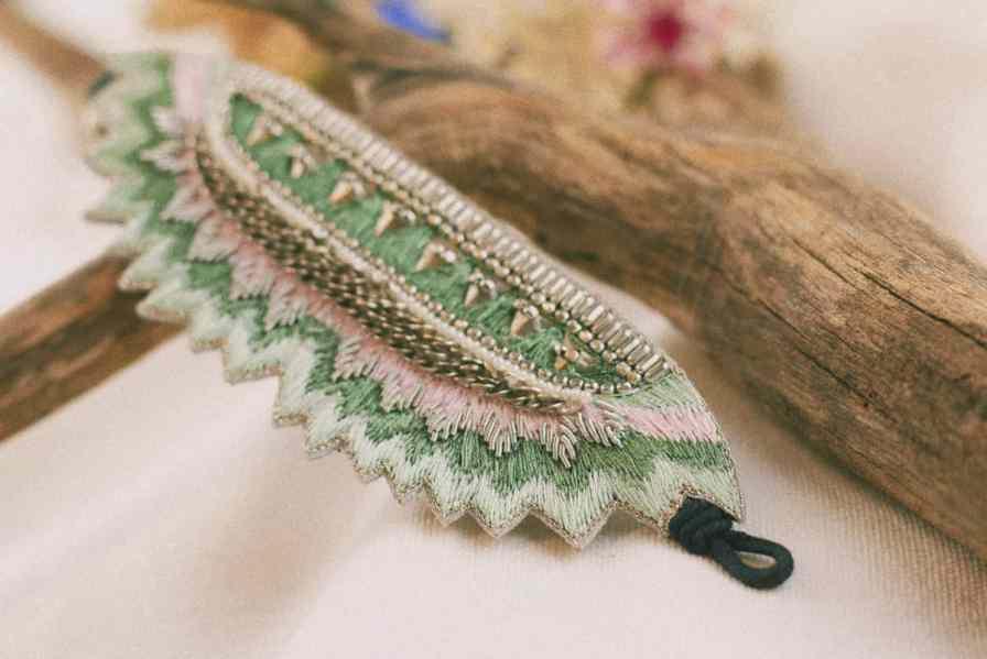 Bracelet ethnique Maheswari | Sauge | Photo 1