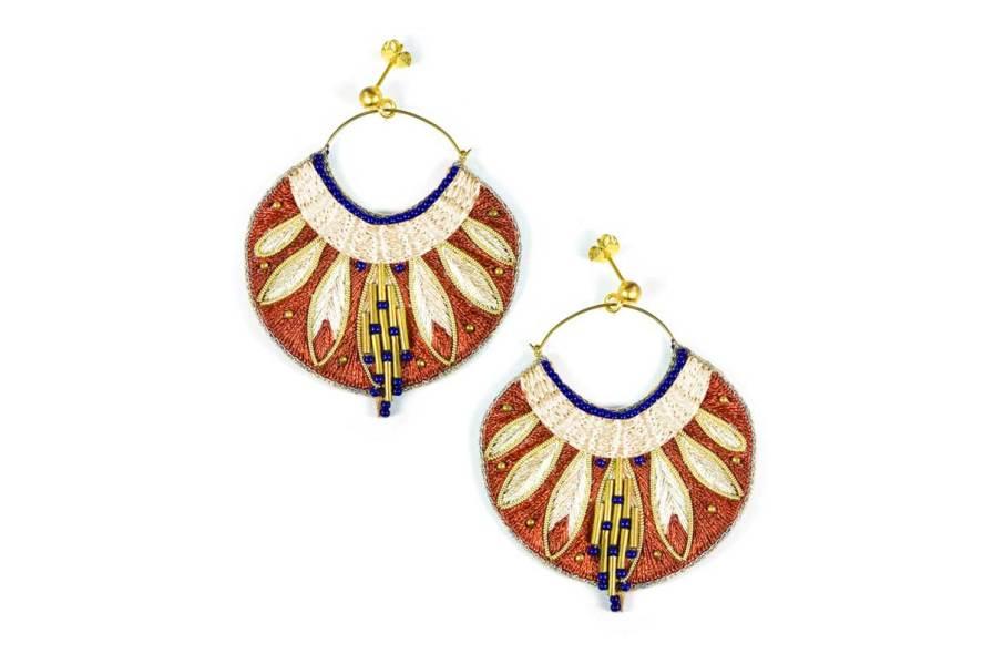 Boucles d'oreilles ethniques Apie | Copper | Photo 2