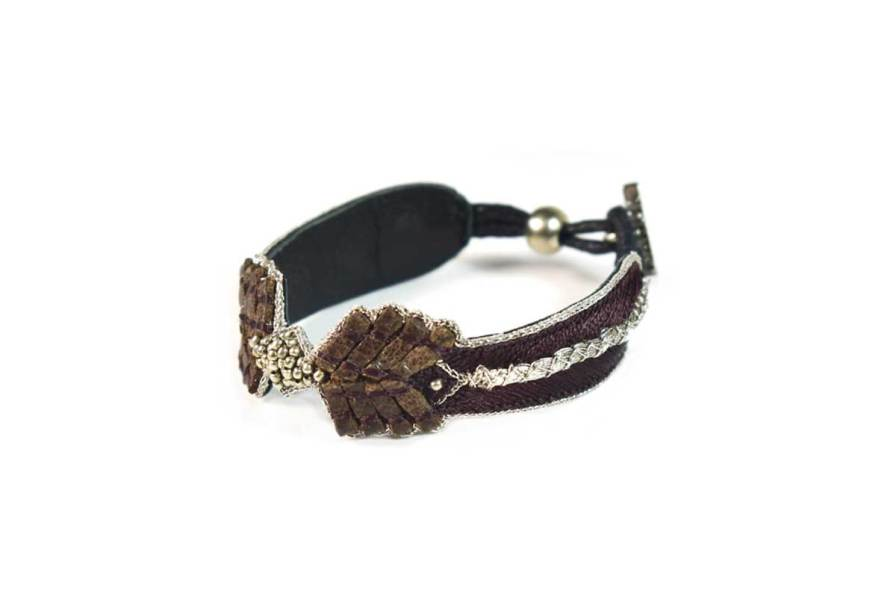 Bracelet cuir Colombe | Coffee | Photo 2