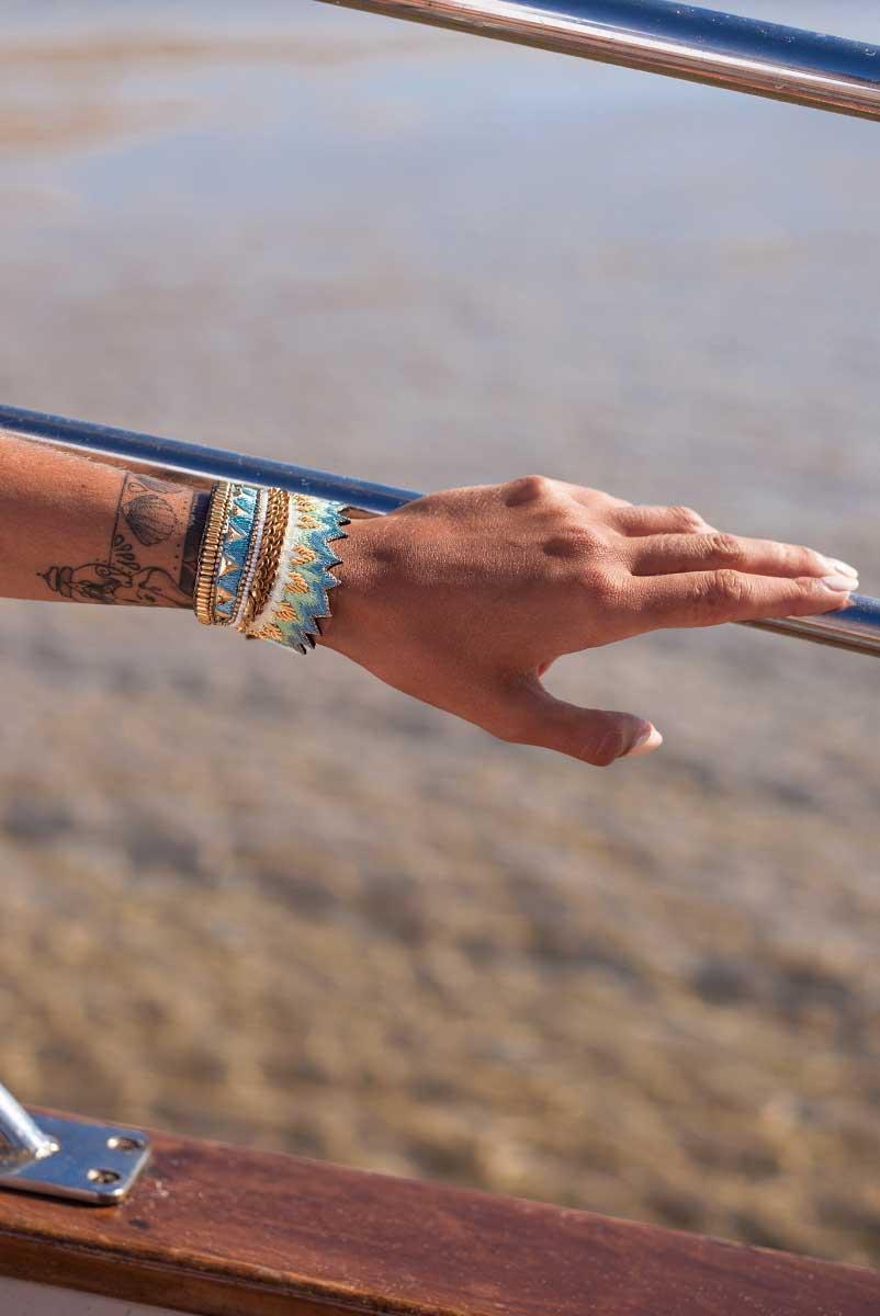 Bracelet ethnique Maheswari | Aqua | Photo 1