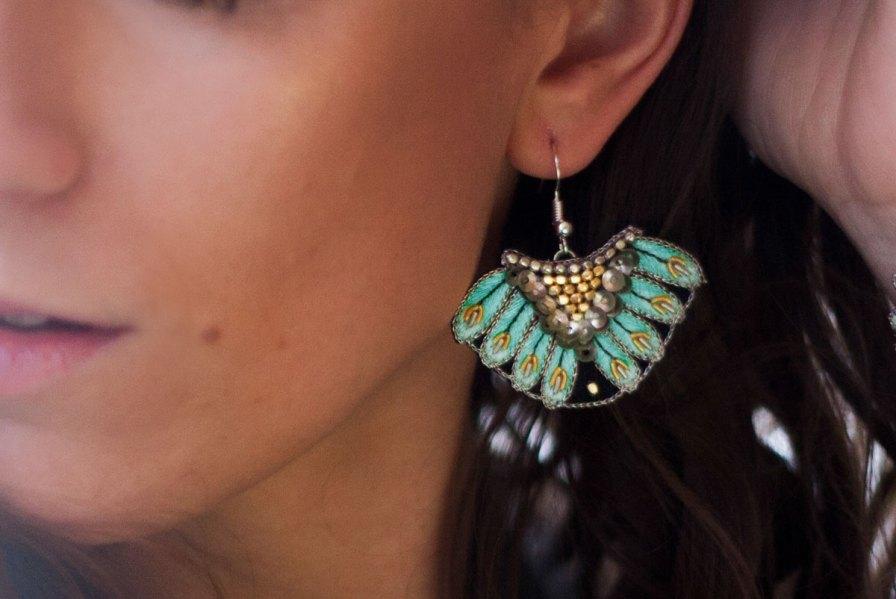 Boucles d'oreilles ethniques Nidhi | Turquoise | Photo 1