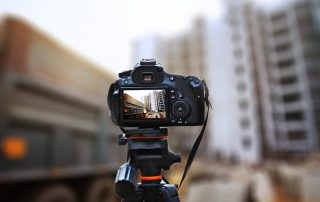 Camera taking shot on construction site