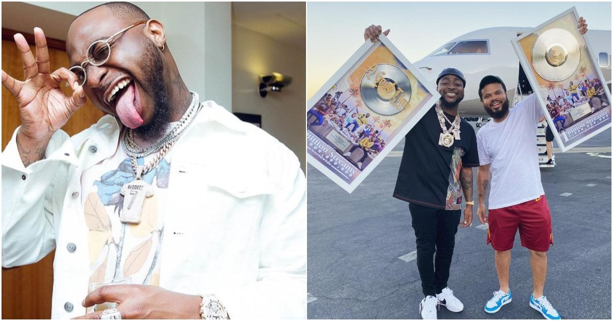 Celebrations! Davido Gets Plaque From Sony Music As His AGT Album Hits 1 Billion Streams Worldwide
