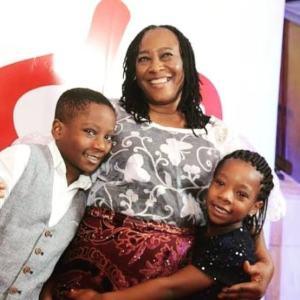 Patience Ozokwor and two of her grandchildren all euphoria.