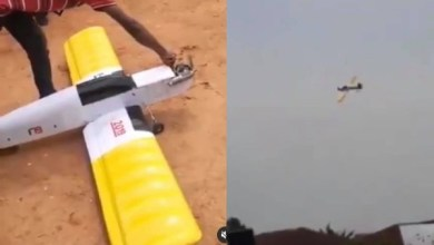 Photo of FUTO student test runs an aeroplane he built for his final year project (video)