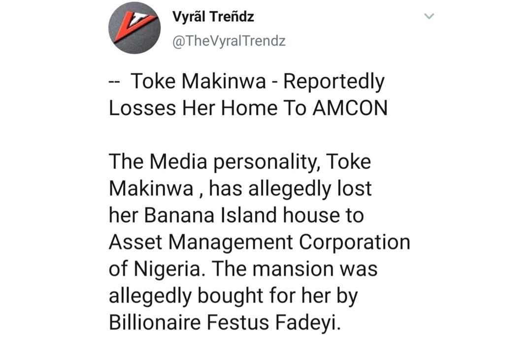See why AMCON seized Toke Makinwa's house